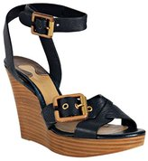 Chloe navy leather buckle detail wedge sandals