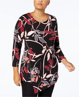 Alfani Plus Size Printed Asymmetrical Hem Zip Tunic, Created for Macy's