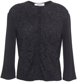 Valentino Paneled Embellished Corded Lace And Knitted Cardigan