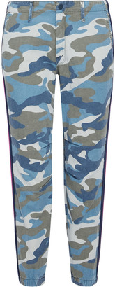 Mother The No Zip Misfit Printed Cotton-blend Twill Tapered Pants