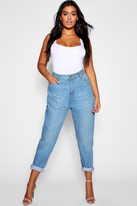 boohoo Plus Fabienne High Rise Mom Jeans