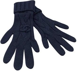 Chanel Navy Cashmere Gloves