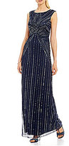 Adrianna Papell Extended Cap-Sleeve Beaded Gown