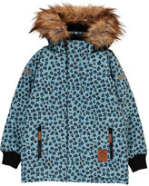 Mini Rodini Leopard Parka with Faux Fur Hood