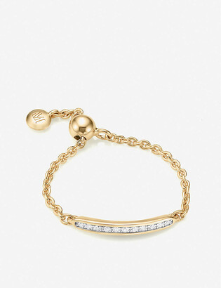 Monica Vinader Skinny 18ct gold-plated vermeil silver and diamond ring