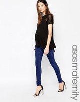 Asos ''Sculpt Me'' Premium Jean Jegging In Rich Blue With Under The Bump Waistband
