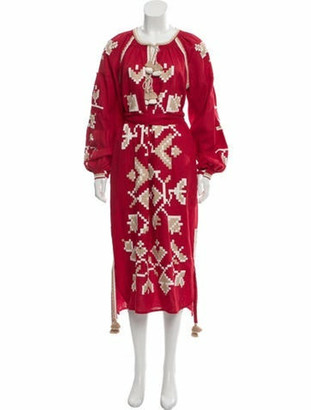 March 11 2018 Embroidered Linen Dress Red