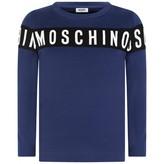 Moschino MoschinoBoys Navy Logo Stripe Jersey Top
