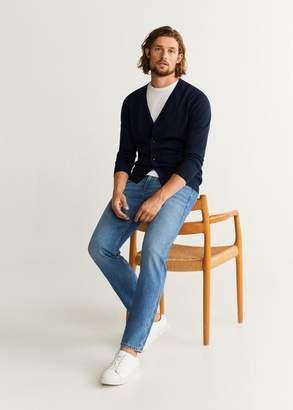MANGO MAN - 100% merino wool washable sweater navy - S - Men