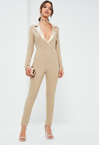 Missguided Nude Satin Lapel Long Sleeve Tux Romper