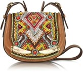 Roberto Cavalli Horn and Beads Embroidery Leather Shoulder Bag