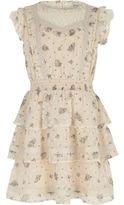River Island Girls cream floral lace trim frill dress