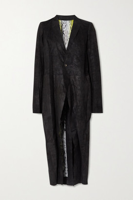Rick Owens Distressed Crinkled-leather Coat - Black