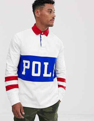 Polo Ralph Lauren large logo rugby polo custom regular fit in white