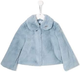 Lula Abel & crystal embellished faux-fur jacket