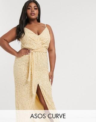 Asos DESIGN Curve embellished maxi dress with wrap waist detail