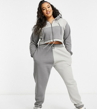 Lasula Plus contrast panel jogger co ord in grey