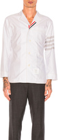 Thom Browne Oxford Pajama Shirt in Gray,Stripes.