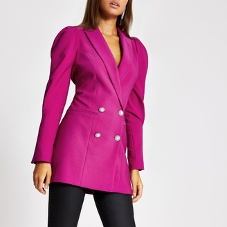 River Island Womens Pink puff sleeve double breasted blazer