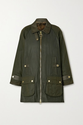 Barbour Norwood Faux Leather-trimmed Waxed-canvas Jacket - Green