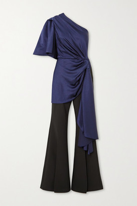 SOLACE London Tandee One-sleeve Gathered Hammered-satin And Crepe Jumpsuit - Navy