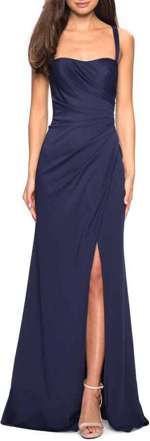 La Femme Ruched Jersey A-Line Gown