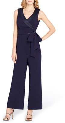 Tahari Sleeveless Satin Trim Jumpsuit