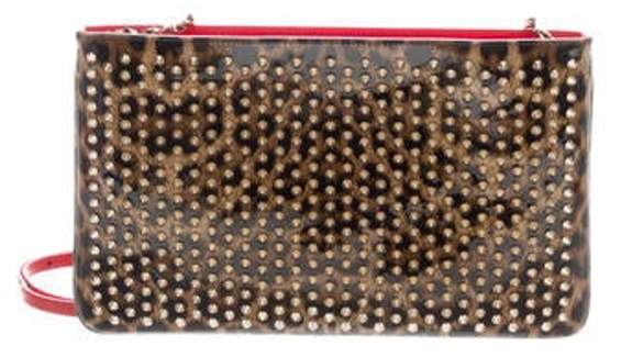 84e54fdb033 Spiked Patent Leather Clutch Brown Spiked Patent Leather Clutch