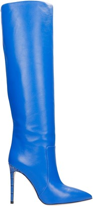 Paris Texas High Heels Boots In Blue Leather