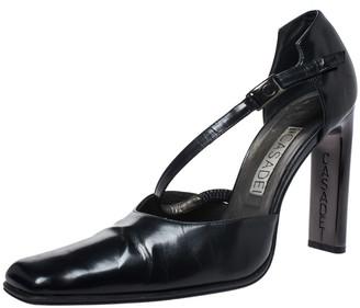 Casadei Black Leather Strap Metal Heel Pumps Size 38