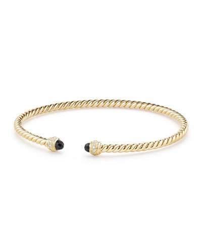 David Yurman 18k Gold CableSpira® Bracelet w/ Black Onyx, Size M
