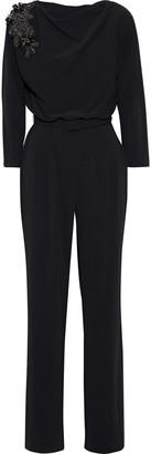 Badgley Mischka Embellished Draped Stretch-crepe Jumpsuit