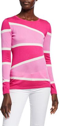Neiman Marcus Superfine Variegated Stripe Crewneck Long-Sleeve Sweater