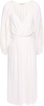 Joie Lidayne Wrap-effect Embroidered Cotton-gauze Dress