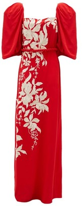 Johanna Ortiz Floral Themes Embroidered Crepe De Chine Dress - Red
