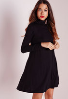 Missguided Turtle Neck Long Sleeve Jersey Swing Dress Black