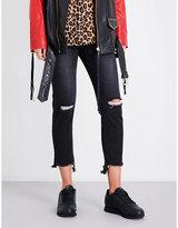 Sjyp Frayed-hem slim-fit tapered high-rise jeans