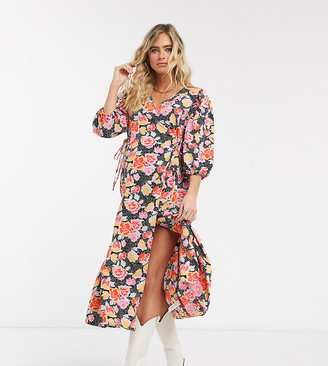 Topshop Maternity floral wrap midi dress in pink