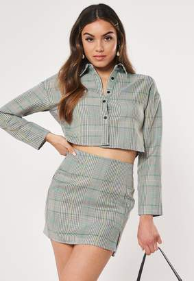Missguided Grey Check Print Mini Skirt