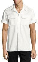 Neil Barrett Short-Sleeve Cotton Military Shirt, Off White