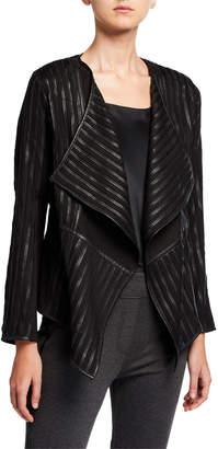 Patrizia Luca Striped Vegan Leather Draped Jacket