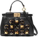Fendi Peekaboo Micro Studded Leather Shoulder Bag - Black