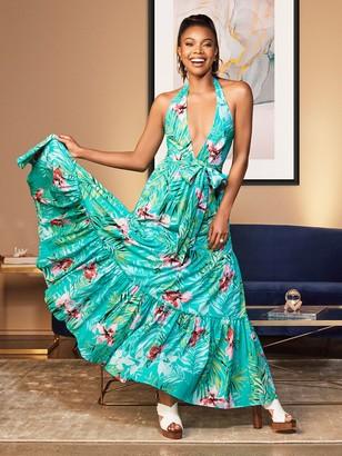 New York & Co. Green Halter Maxi Dress