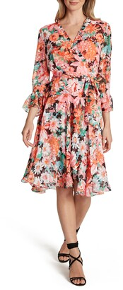 Tahari Floral Faux Wrap Chiffon Dress