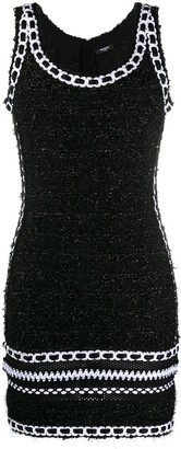Balmain tweed mesh knit strap dress