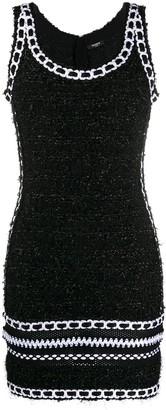 Balmain Tweed Mesh Knit Strap Dress