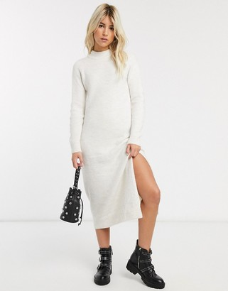 Pimkie crew neck knitted dress in beige