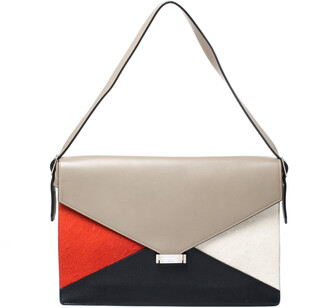 Celine Tricolor Leather and Calfhair Medium Diamond Shoulder Bag