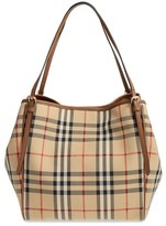 Burberry Small Canter Check & Leather Tote - Beige