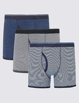 M&S Collection XXXL 3 Pack Pure Cotton Feeder Striped Trunks with StayNEWTM